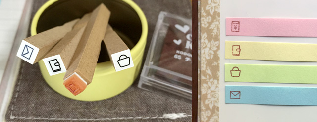 手帳、フセン用極小スタンプ