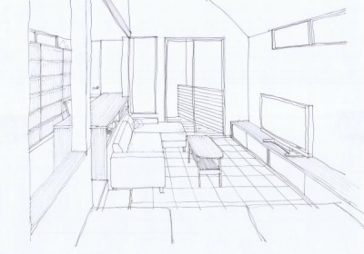 House in Libraryrスケッチ