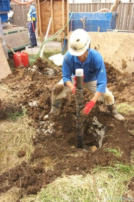 地盤改良工事鋼管施工
