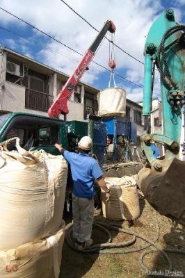 地盤改良工事セメントミルク