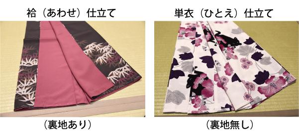 袷の着物と単衣の着物画像(撫松庵)