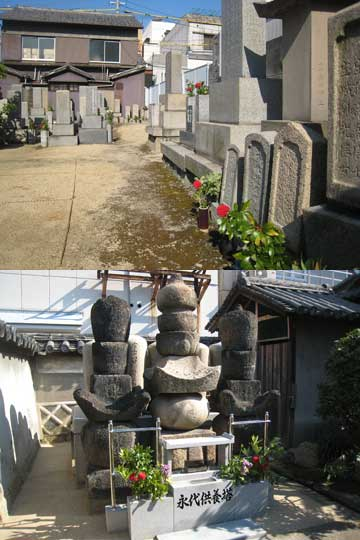 お盆の墓地献花作業