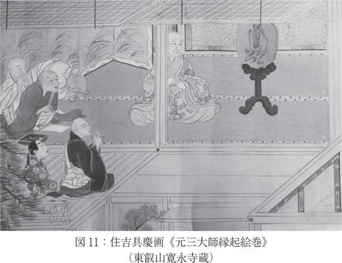 元三大師縁起絵巻の鏡に写った姿(寛永寺蔵、《元三大師縁起絵巻》からみるポリティクスと両大師信仰より)