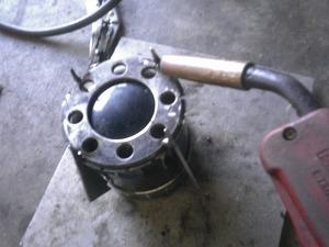 冷却フィン溶接作業