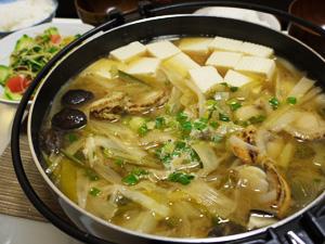 ホタテとネギの味噌鍋