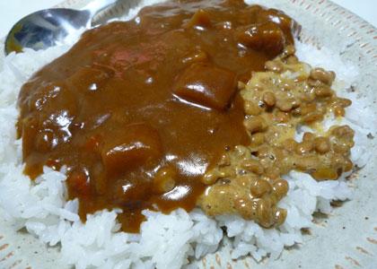 カレー納豆とカレーライス。