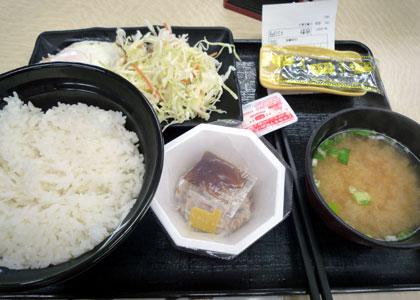 ハム納豆定食。
