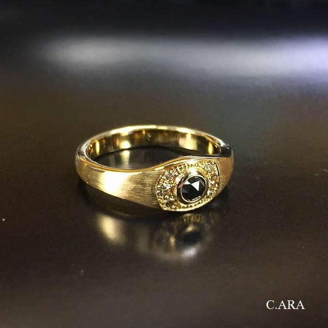 ブラックダイヤ ブラウンダイヤ ピンキーリング 愛知県 結婚指輪 オーダーメイド 名古屋市 岡崎市 天白区 婚約指輪 オリジナル 手作り