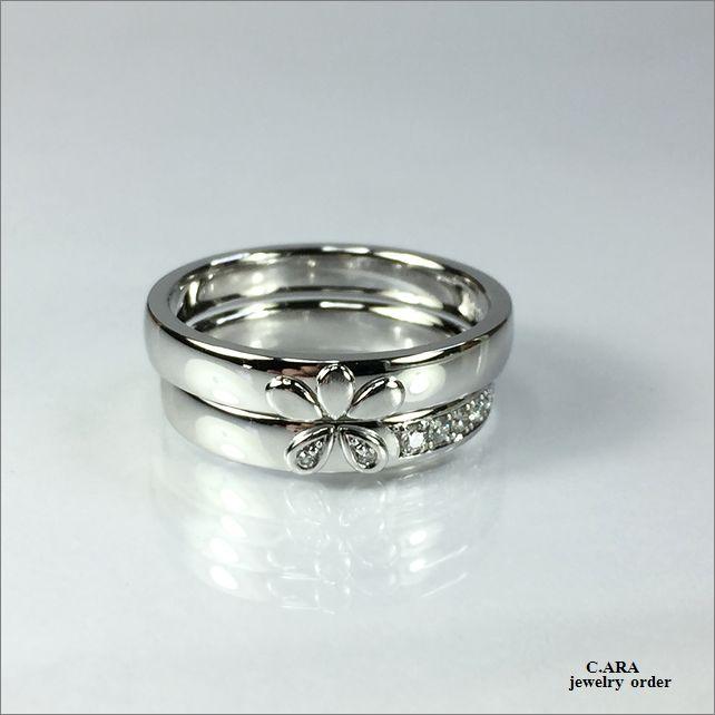 結婚指輪 滋賀県 オーダーメイド 手作り 鍛造 豊田市 名古屋市 花モチーフ セットリング