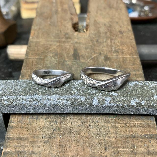 リフォーム 結婚指輪 オーダーメイド 名古屋市 豊田市 婚約指輪 羽モチーフ 鍛造 手作り 岡崎市