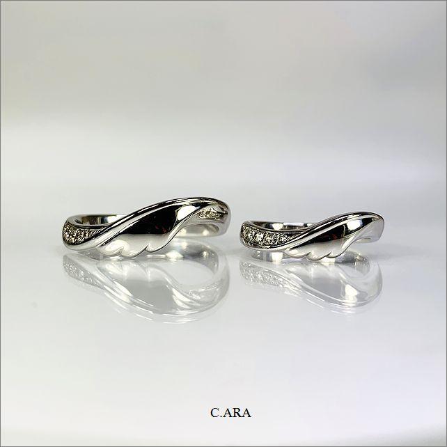 リフォーム 結婚指輪 オーダーメイド 名古屋市 豊田市 婚約指輪 羽根モチーフ 鍛造 手作り 岡崎市