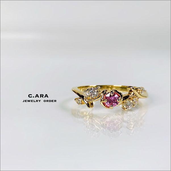 バラ ピンクサファイヤ オリジナル 結婚指輪 オーダーメイド 名古屋市 豊田市