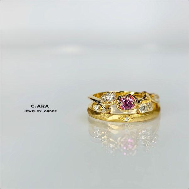 バラ サファイヤ オリジナル 華奢 かわいい 結婚指輪 オーダーメイド 名古屋市 豊田市