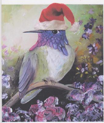 Xmas card Costas Hummingbird
