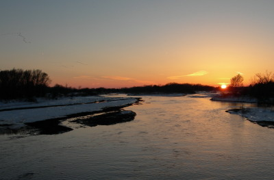 夕焼けのプラット川