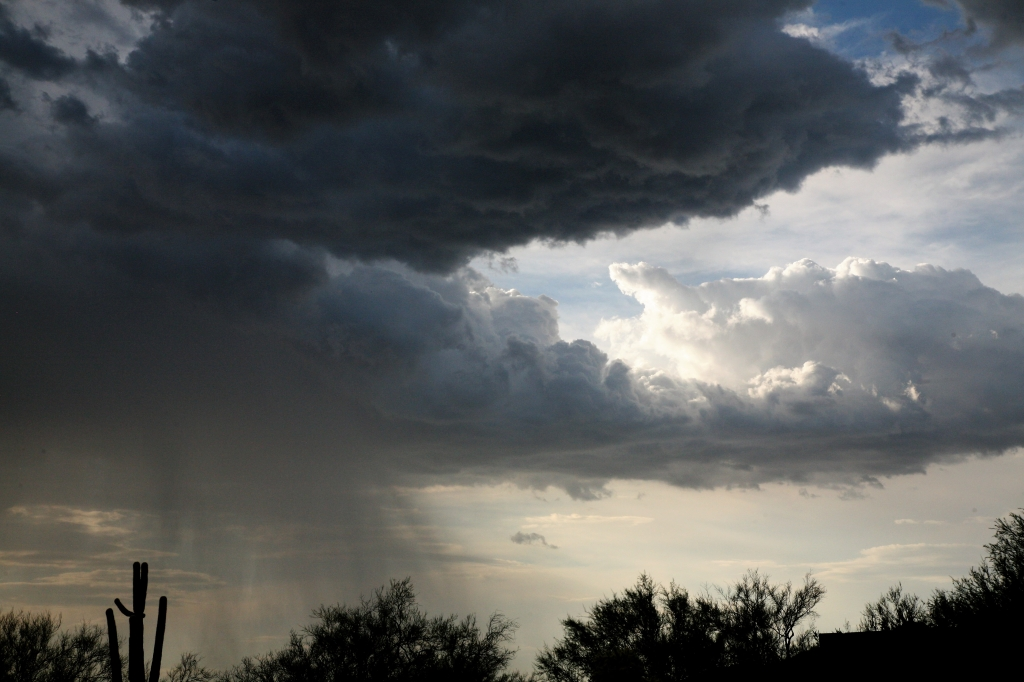 積乱雲と雨のカーテン
