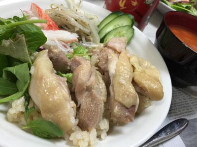 アジアン鶏飯 盛り付け�