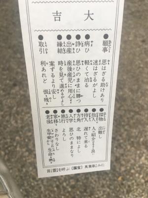 2018年 御霊神社のおみくじ