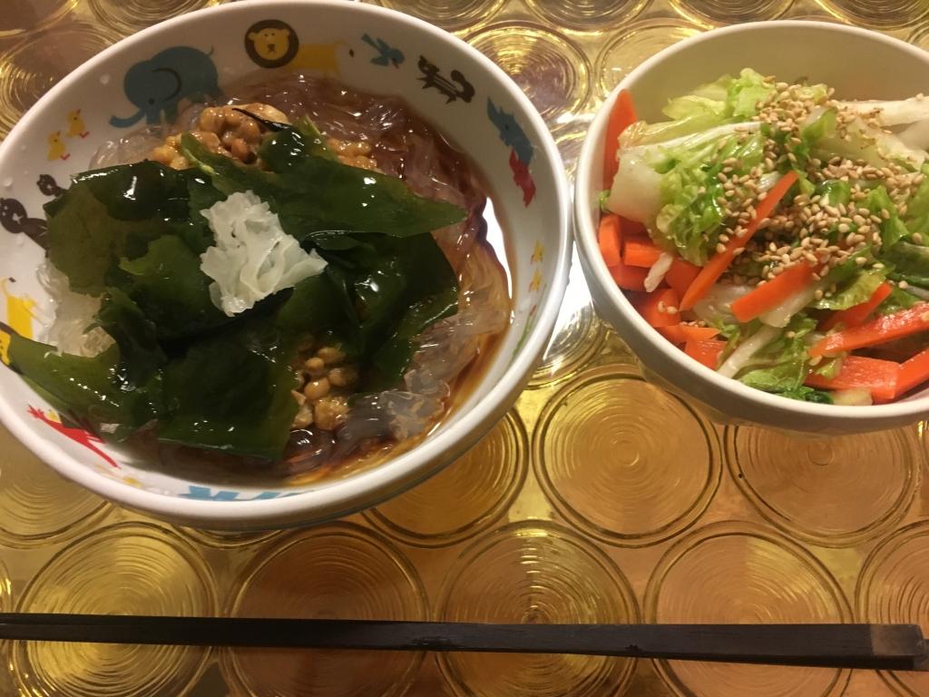 ところてん納豆&白菜とニンジンのナムル