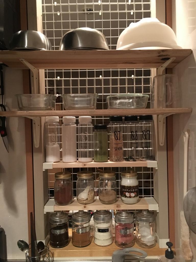 賃貸キッチンカウターにラブリコで収納棚DIY♪ン