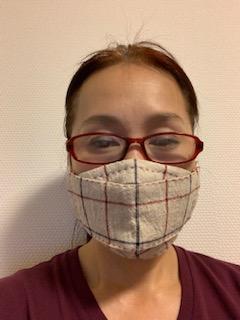 大臣マスクが手作りマスク5号♪