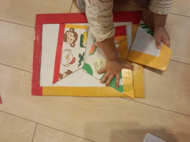 段ボールとガムテープ、好きなイラストで手作りパズル 幼児にかわいい干支パズルをハンドメイドでプレゼント