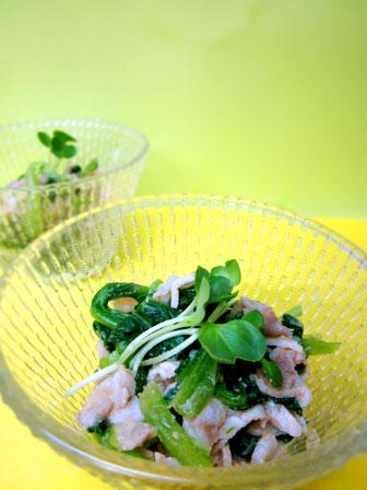 豚肉と小松菜の辛子酢みそ