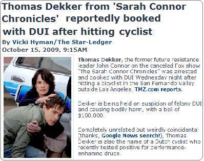 トーマス・デッカー交通事故・人身事故を起こす Thomas Dekker