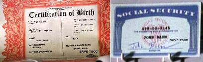 出生証明書とID ジョン・コナー