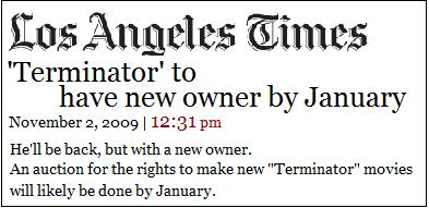 LA times Terminator Auction
