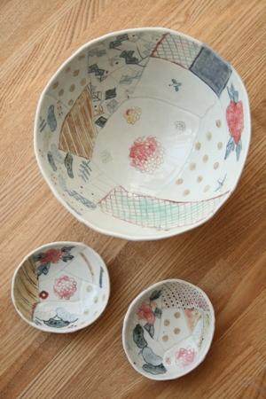 生石窯 西山千代子:丸鉢/楕円小皿〈はり合わせ〉