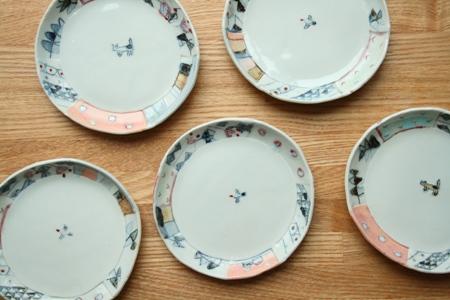 生石窯 西山千代子:丸小皿〈はり合わせ〉