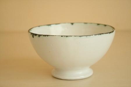ななはち窯:白釉 カフェオレボウル
