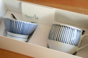 砥部焼・梅山窯:ミルクカップ、くらわんか茶碗・子ども〈十草〉