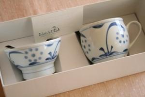 砥部焼・梅山窯:ミルクカップ/子ども茶碗〈呉須太陽〉