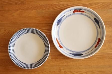 砥部焼・梅山窯:六寸切立丸皿/四寸六分丸皿