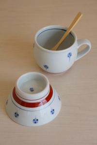 砥部焼・梅山窯:くらわんか茶碗・ミルクカップ〈たんぽぽ〉