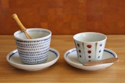 砥部焼・中田窯:そば猪口カップ、四寸皿〈呉須線〉