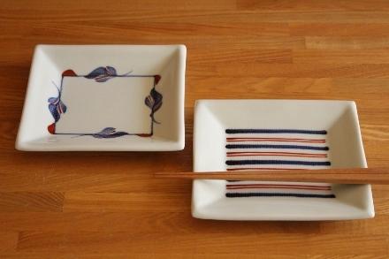 砥部焼・梅山窯:五寸布目角皿