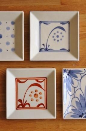 砥部焼・梅山窯:四寸角銘々皿