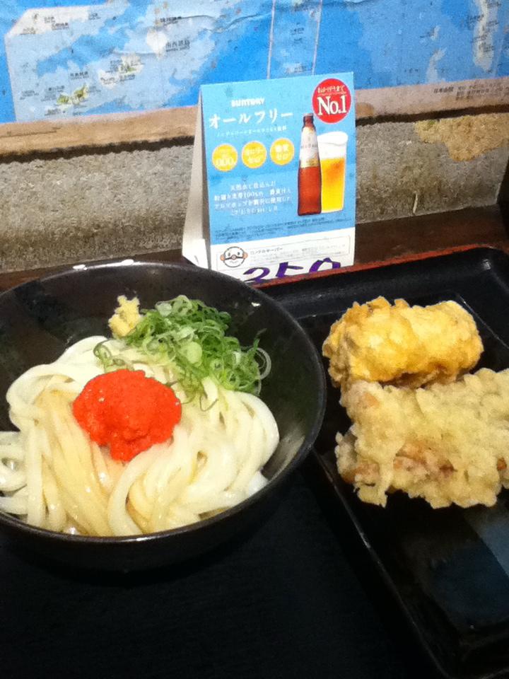 めんたいしょうゆ 380円 鶏天 100円 あんこの天ぷら 100円