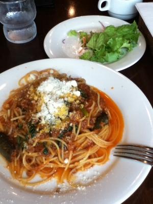 平日ランチ(茄子とほうれん草のミートスパゲッティ) 950円