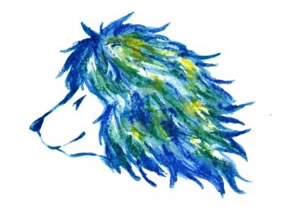 青いライオン