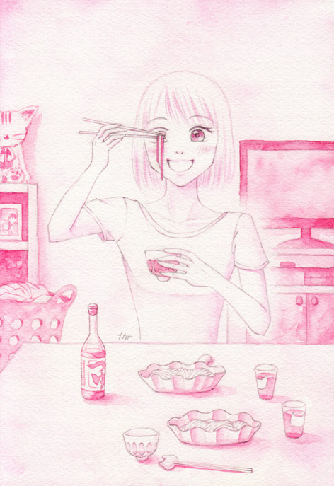 ピンクのひやむぎ
