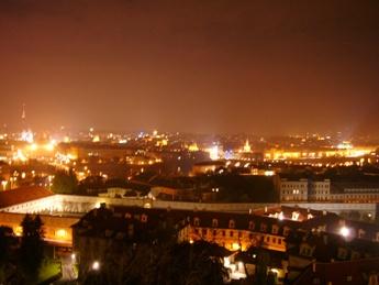 プラハ城から見たプラハ夜景