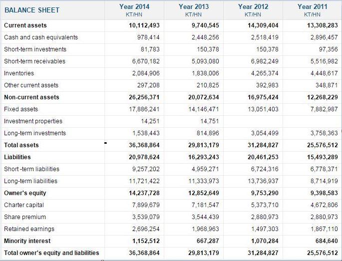 ホアン・アイン・ザーライ(HAGL) Balance sheet