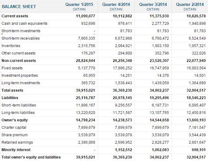 ホアン・アイン・ザーライ(HAGL) Balance sheet 損益