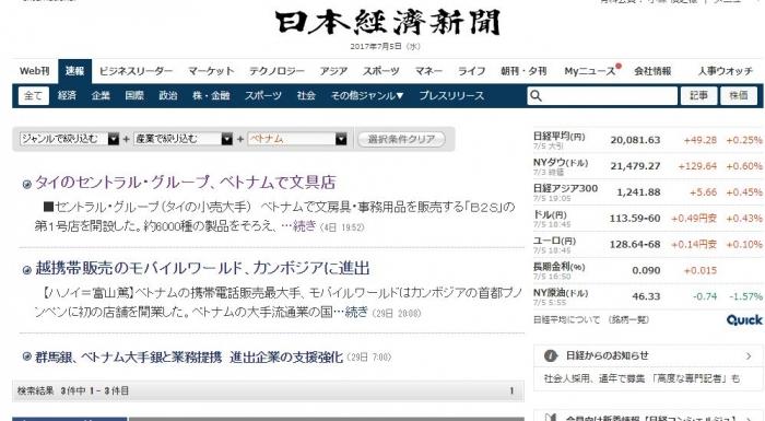 日経新聞 ベトナム株 ニュース