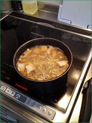 厚揚げと豆モヤシの煮物