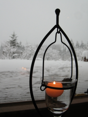 雪景色とローソクランプ
